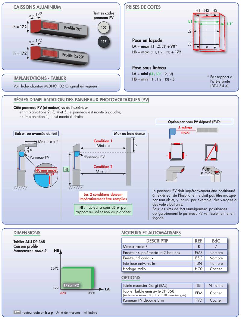 caractéristiques du volet solaire mono Autonome Bubendorff